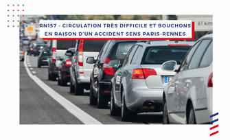 RN157- Circulation très difficile dans le sens Paris-Rennes en raison d'un accident